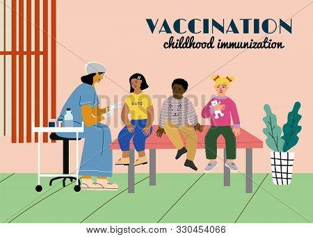 Children Vaccination And Immunization Concept Poster. Doctor Pediatrician With Syringe And Gloves Va