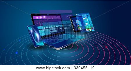 Creation Responsive Internet Website For Multiple Platforms. Building Mobile Interface On Screen Of