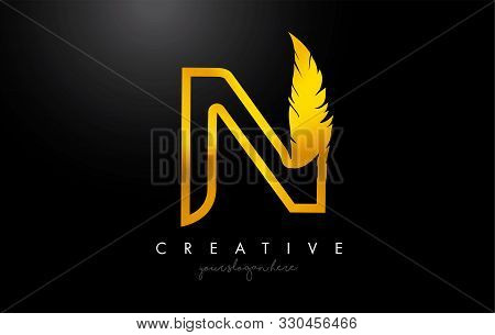 N Golden Gold Feather Letter Logo Icon Design With Feather Feather Creative Look Vector Illustration