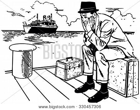 Missed The Boat - Dejected Man Sitting On Dock