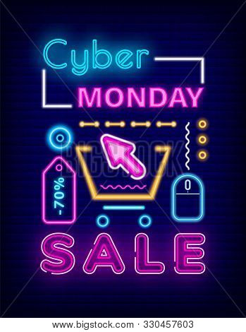 Cyber Monday Sale Vector, Discount On All Products. Marketing And Announcement Of Clearance At Shops