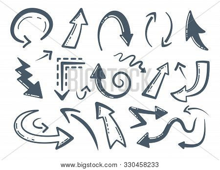 Collection Of Handmade Doodle Vector Arrows. Different Hand Drawn Arrow Icons. Cursor, Curve, Up And