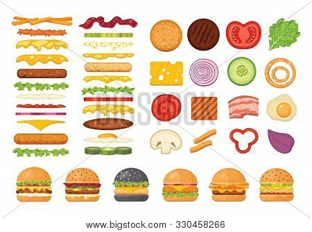 Big Set Of Vector Ingredients For Burger And Sandwich Top View And Front. Elements For Different Bur