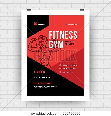 Fitness Center Flyer Modern Typographic Layout, Event Cover Poster Template