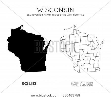 Wisconsin Map. Blank Vector Map Of The Us State With Counties. Borders Of Wisconsin For Your Infogra