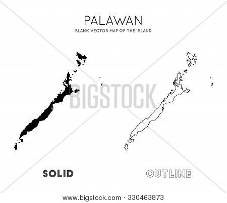 Palawan Map. Blank Vector Map Of The Island. Borders Of Palawan For Your Infographic. Vector Illustr