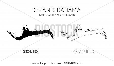 Grand Bahama Map. Blank Vector Map Of The Island. Borders Of Grand Bahama For Your Infographic. Vect