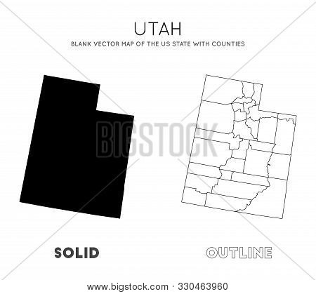 Utah Map. Blank Vector Map Of The Us State With Counties. Borders Of Utah For Your Infographic. Vect