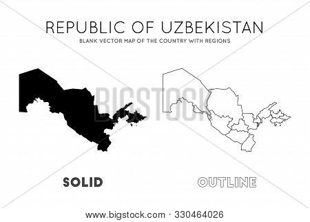 Uzbekistan Map. Blank Vector Map Of The Country With Regions. Borders Of Uzbekistan For Your Infogra