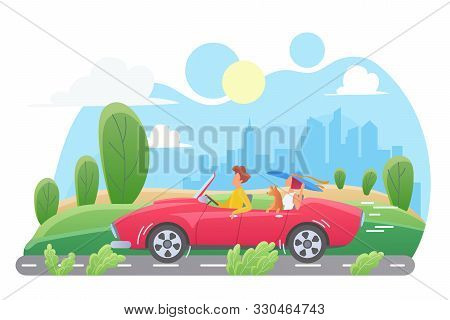 Car Travel Flat Vector Illustration. Couple With Dog In Cabriolet Cartoon Characters. Man And Woman