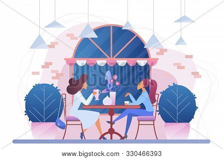 Girls In Cafe Flat Vector Illustration. Female Friends In Restaurant Cartoon Characters. Women Drink
