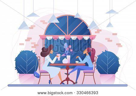 Girls In Cafe Flat Vector Illustration. Female Friends In Restaurant Cartoon Characters. Women Drink