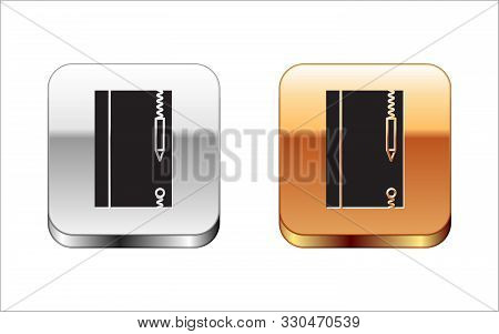 Black Underwater Note Book And Pencil For Snorkeling Icon Isolated On White Background. Water Writin