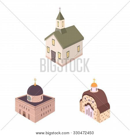 Vector Design Of Architecture And Building Logo. Collection Of Architecture And Clergy Stock Vector