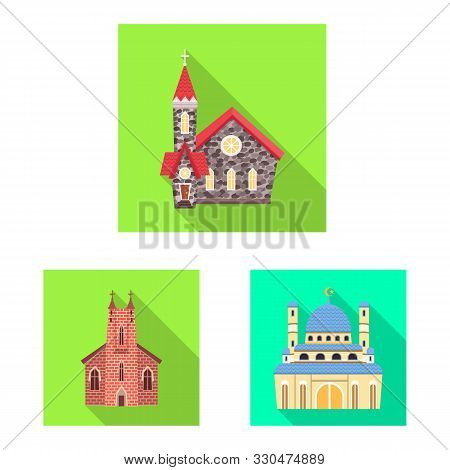 Vector Design Of Cult And Temple Symbol. Collection Of Cult And Parish Stock Vector Illustration.