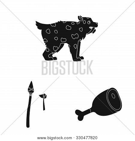 Isolated Object Of Survival And Primeval Logo. Set Of Survival And Stone Stock Vector Illustration.