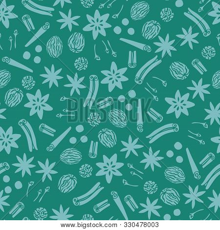Teal Holiday Spices Seamless Vector Repeat Pattern Background With Star Anise, Cinnamon, Nutmeg And