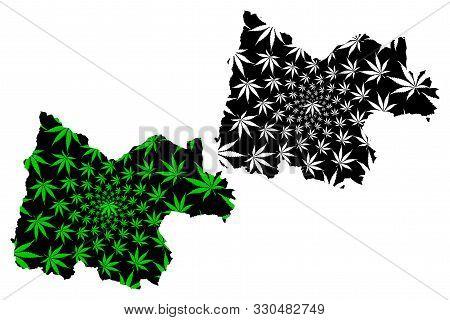 Uthai Thani Province (kingdom Of Thailand, Siam, Provinces Of Thailand) Map Is Designed Cannabis Lea