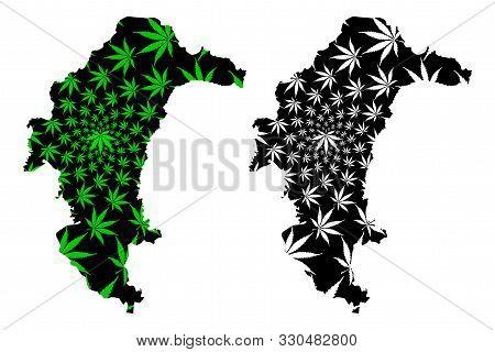 Yasothon Province (kingdom Of Thailand, Siam, Provinces Of Thailand) Map Is Designed Cannabis Leaf G