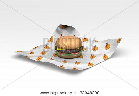 3D Fast food burger in wrapper