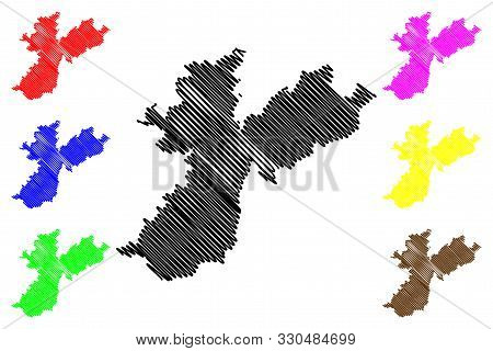 Nabatieh Governorate (lebanese Republic, Governorates Of Lebanon) Map Vector Illustration, Scribble