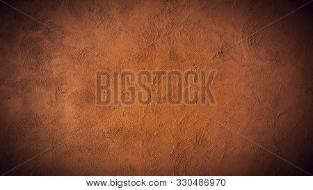 Vintage Wall Stucco In Red Brown .old Cement Wall Texture .texture Of Old Rustic Wall Covered With R