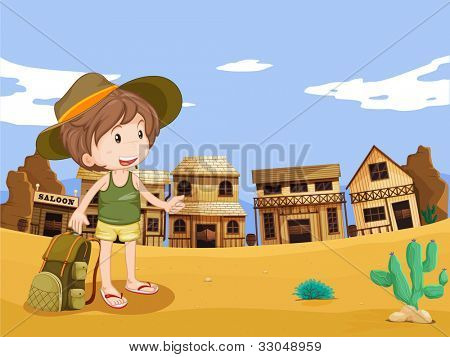 Illustration of boy in wild west town - EPS VECTOR format also available in my portfolio.
