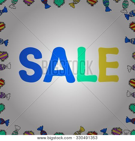 Simple Patches, Poster, Badges In Cute Art Style. Sale Banner Template Design. Illustration In Yello