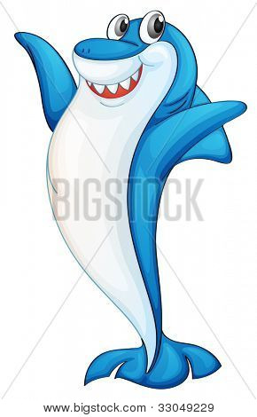Illustration of a blue and white shark - EPS VECTOR format also available in my portfolio.