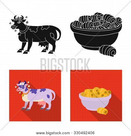Vector Illustration Of Creamy And Product Sign. Set Of Creamy And Farm Stock Vector Illustration.