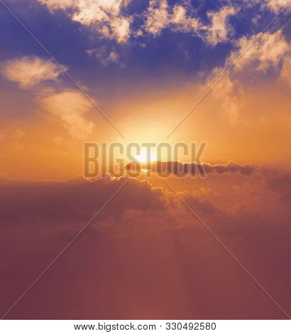 World Environment Day Concept: Panoramic Evening Sky And Clouds Background