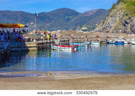 Vernazza, Italy - September 14, 2019: People Resting At Beach In Vernazza Town, Cinque Terre Nationa