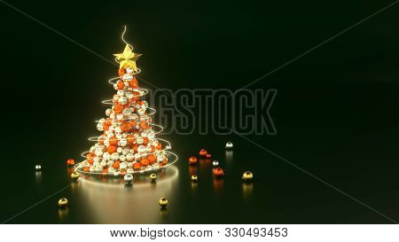 3d Render Of Xmas Tree Made Of Silver, Gold And Red Baubles On Dark Green Background. Copy Space. Ne