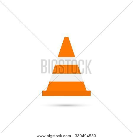 Construction Traffic Cone Icon, Warning Sign Design. Vector Illustration.