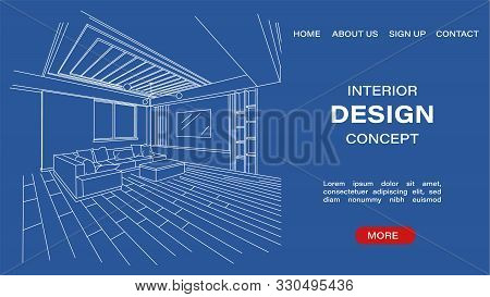 Interior Design Concept Site Template With Blueprint Sketch Of A Modern Living Room. Architectural V