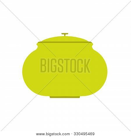 Cookware Home Symbol Cuisine Interior. Handle Green Culinary Dishware Tool Vector Flat Icon