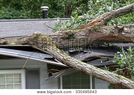A Large Oak Tree Tossed By The Winds Of A Summer Storm Falls Onto And Cuts Through Half Of A House R