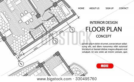 Concept Floor Plan Of A Modern Apartment. Interior Loft Design With Kitchen, Bedroom, Bathroom, Livi