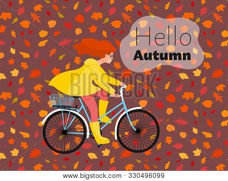 Beautiful Girl In Yellow Raincoat Rides Bicycle In Nature Under Rain, Bike Travel In Park. Stock Vec