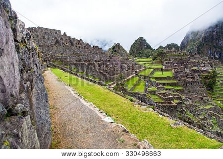 Machu Picchu, Panoramic View Of Peruvian Incan Town, Unesco World Heritage Site, Sacred Valley, Cusc
