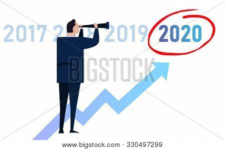 Business Man Leader Vision Ahead Strategy For 2020 New Year In Company. Looking At Growth Target Mar