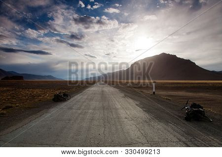 Beautiful View Of Pamir Highway Or Pamirskij Trakt, Road M-41, International Road In Tajikistan Bada