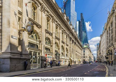 London. May 21 2019. Cornhill In The City Of London In London