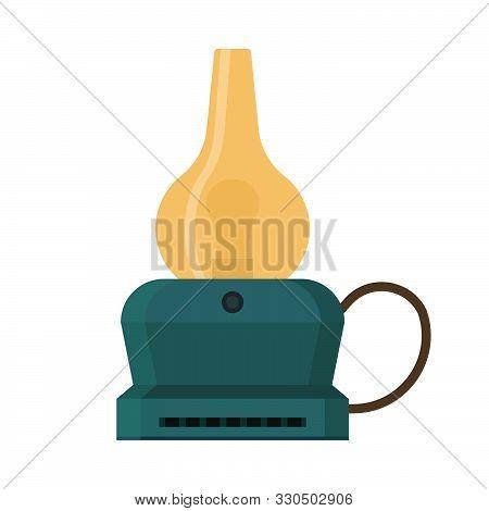 Oil Lantern Lamp Design Decoration Equipment Fuel. Bright Aged Camp Light Vintage Vector Icon. Keros