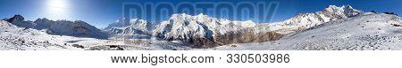 Panoramic View Of Annapurna 2 Ii, 3 Iii, 4 Iv, Ganggapurna And Khangsar Kang From Ice Lake, Way To T