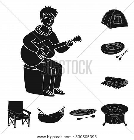 Isolated Object Of Barbeque And Rest Symbol. Set Of Barbeque And Nature Vector Icon For Stock.