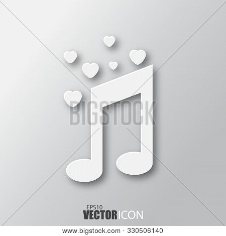 Love Music Icon In White Style With Shadow Isolated On Grey Background.
