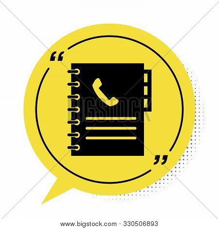 Black Phone Book Icon Isolated On White Background. Address Book. Telephone Directory. Yellow Speech