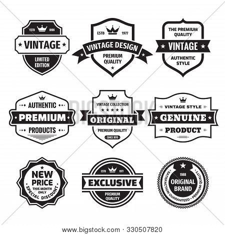 Business Badges Vector Set In Retro Vintage Design Style. Abstract Logo. Premium Quality. Satisfacti
