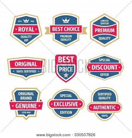 Business Badges Vector Set In Vintage Design Style. Abstract Logo. Premium Quality. Genuine Authenti